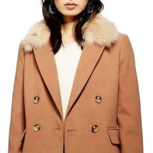Topshop Jackets & Coats - Topshop Naomi Faux Fur Collar Coat